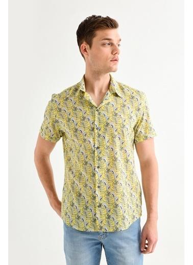 Avva Erkek  Baskılı Apaş Yakalı Slim Gömlek A01Y2049 Sarı